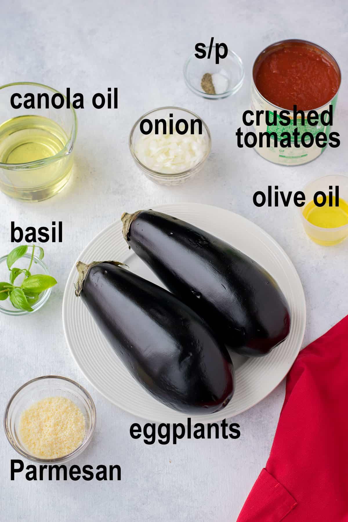 eggplants, Parmesan, basil, oil and tomato sauce ingredients