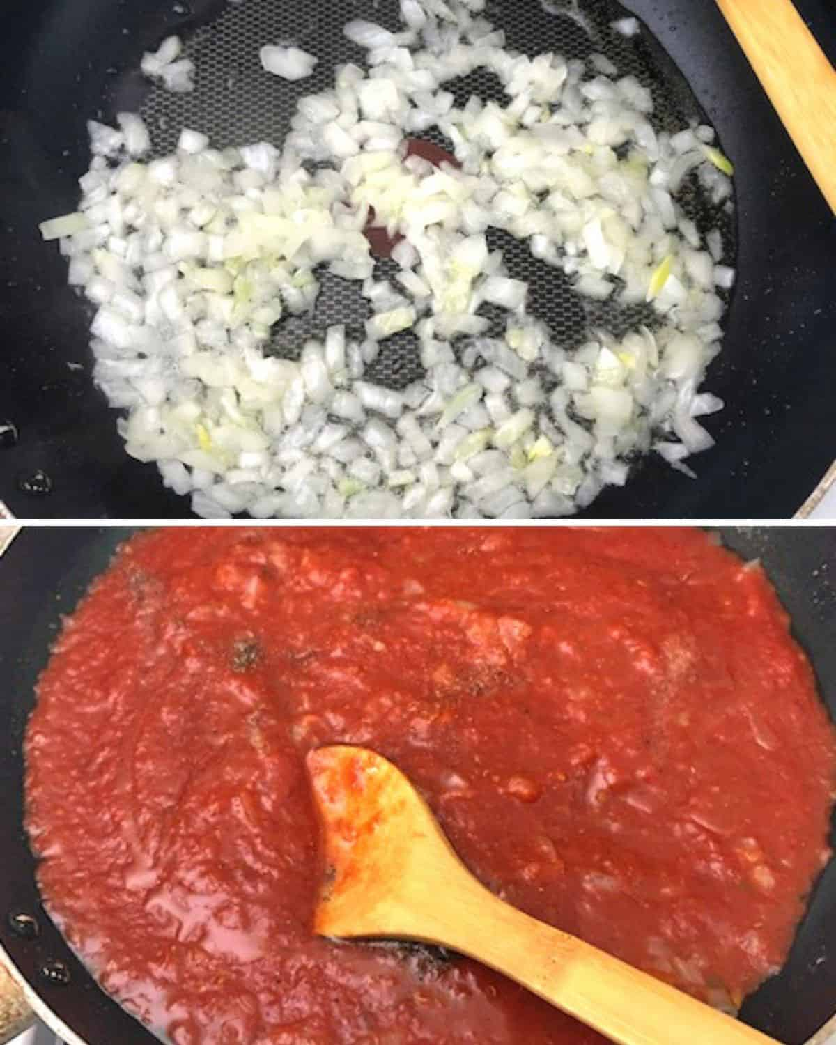 onions cooking in pan, tomato sauce in pan with wooden spoon