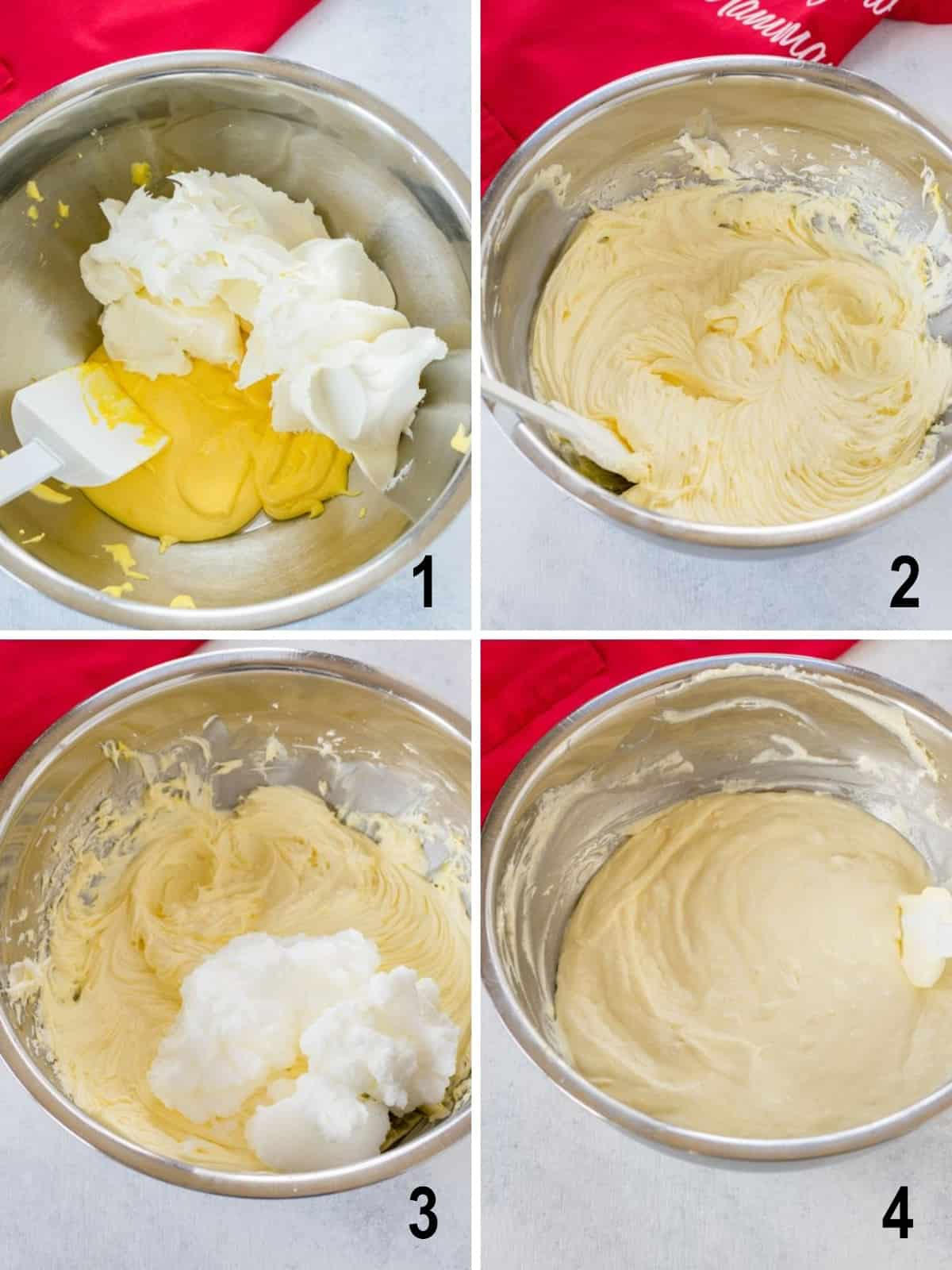 collage of how to make creamy filling in bowl