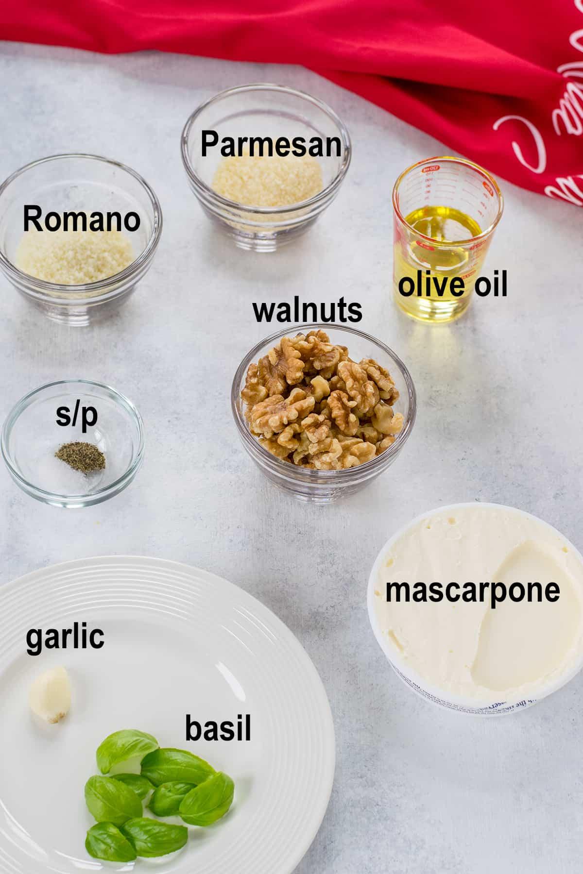 walnuts, Parmesan, Romano, oil, creamy cheese, garlic, basil, seasonings