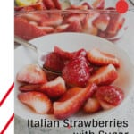 pinnable image for strawberries with sugar