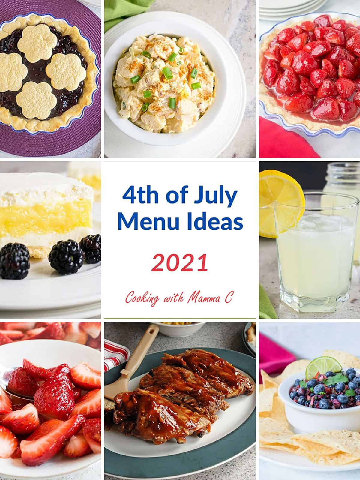 collage of pies, potato salad, ribs, lemon drink, and food for 4th of July