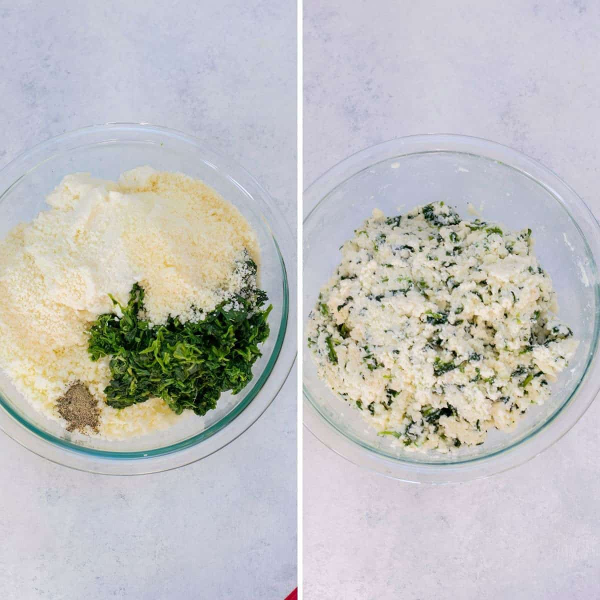 bowl of cheese, spinach, seasonings, bowl of ricotta filling