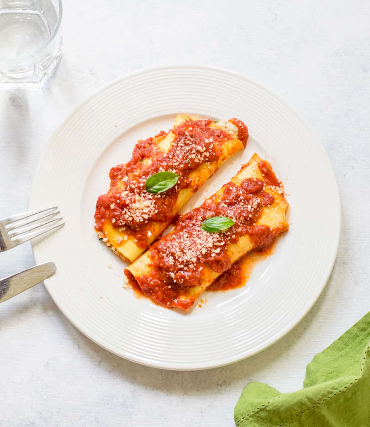 overhead view of two manicotti