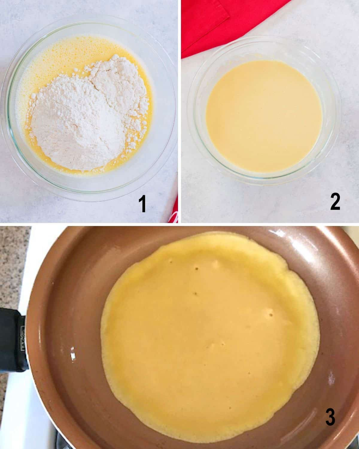 bowl of beaten eggs with flour, batter, crepe cooking in pan