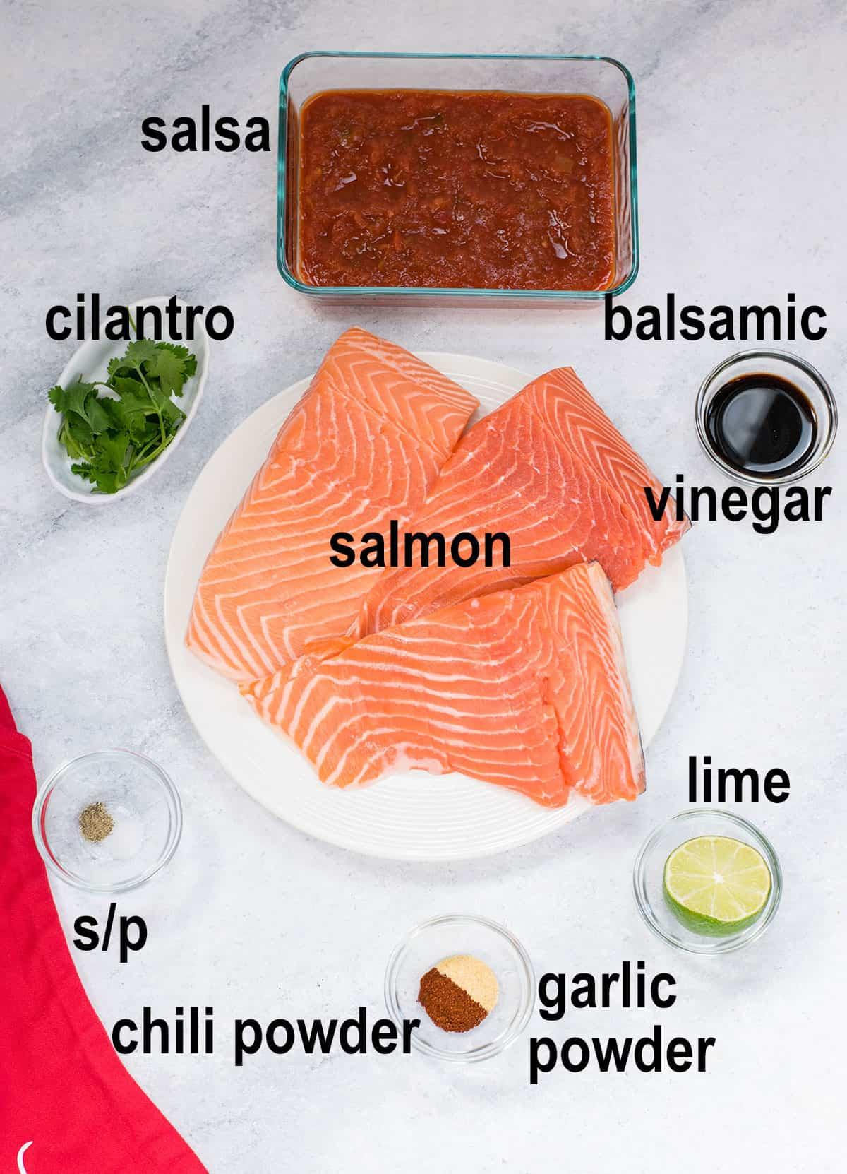 raw salmon, salsa, balsamic vinegar, lime, cilantro, seasonings