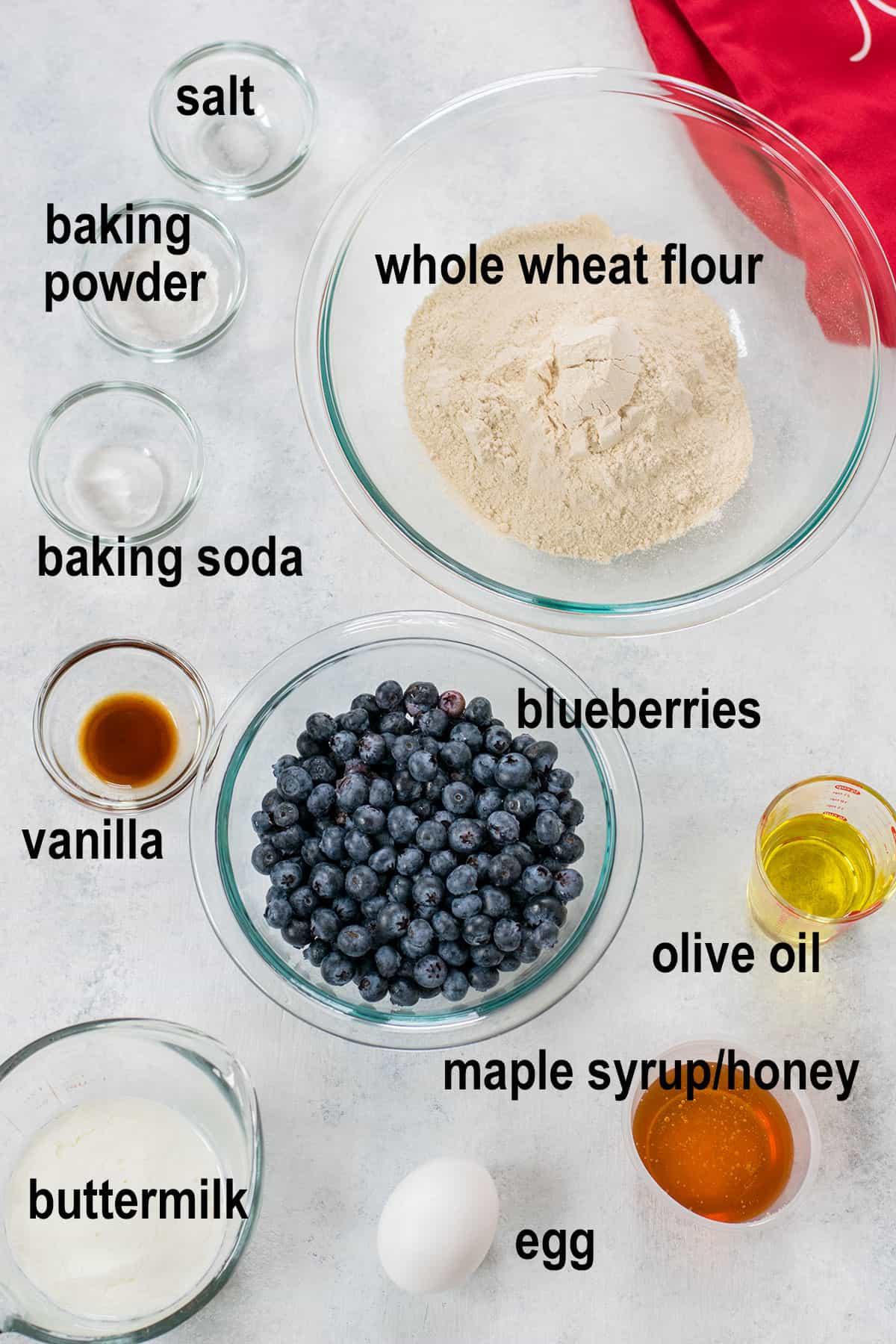 blueberries, flour, oil, egg, milk and ingredients