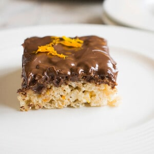Rice Krispie Treat with Nutella frosting and orange zest