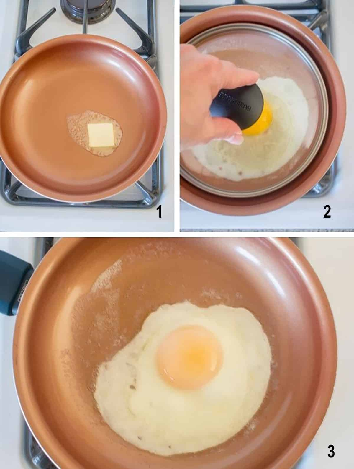 butter in pan, lid over egg in pan, basted egg in pan