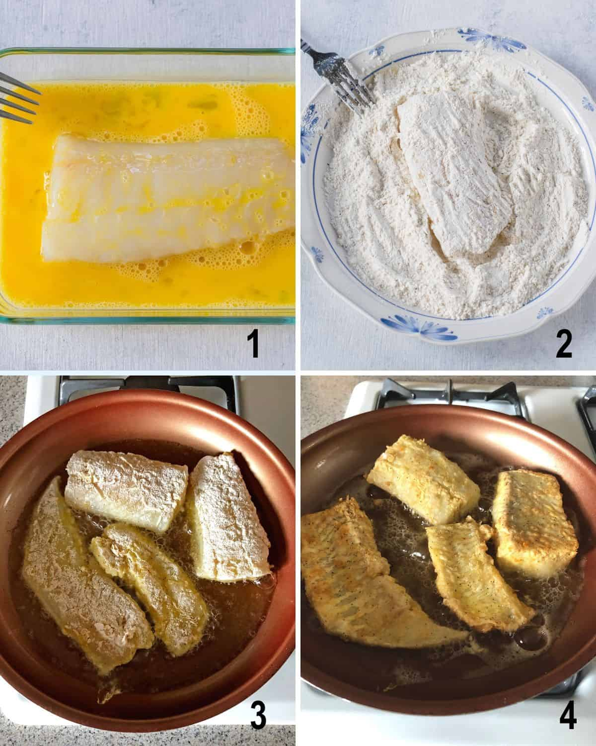 fish in beaten eggs, dipped in flour, frying in pan, flipped over