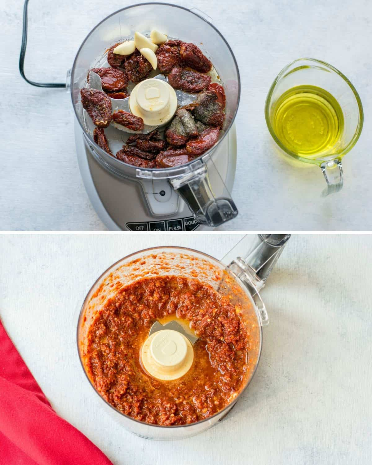 food processor with sun-dried tomatoes and garlic, oil, blended tomato dressing