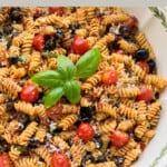 pinnable image for rotini pasta salad