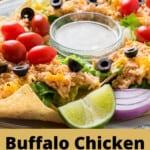 pinnable image for crockpot buffalo chicken nacho salad