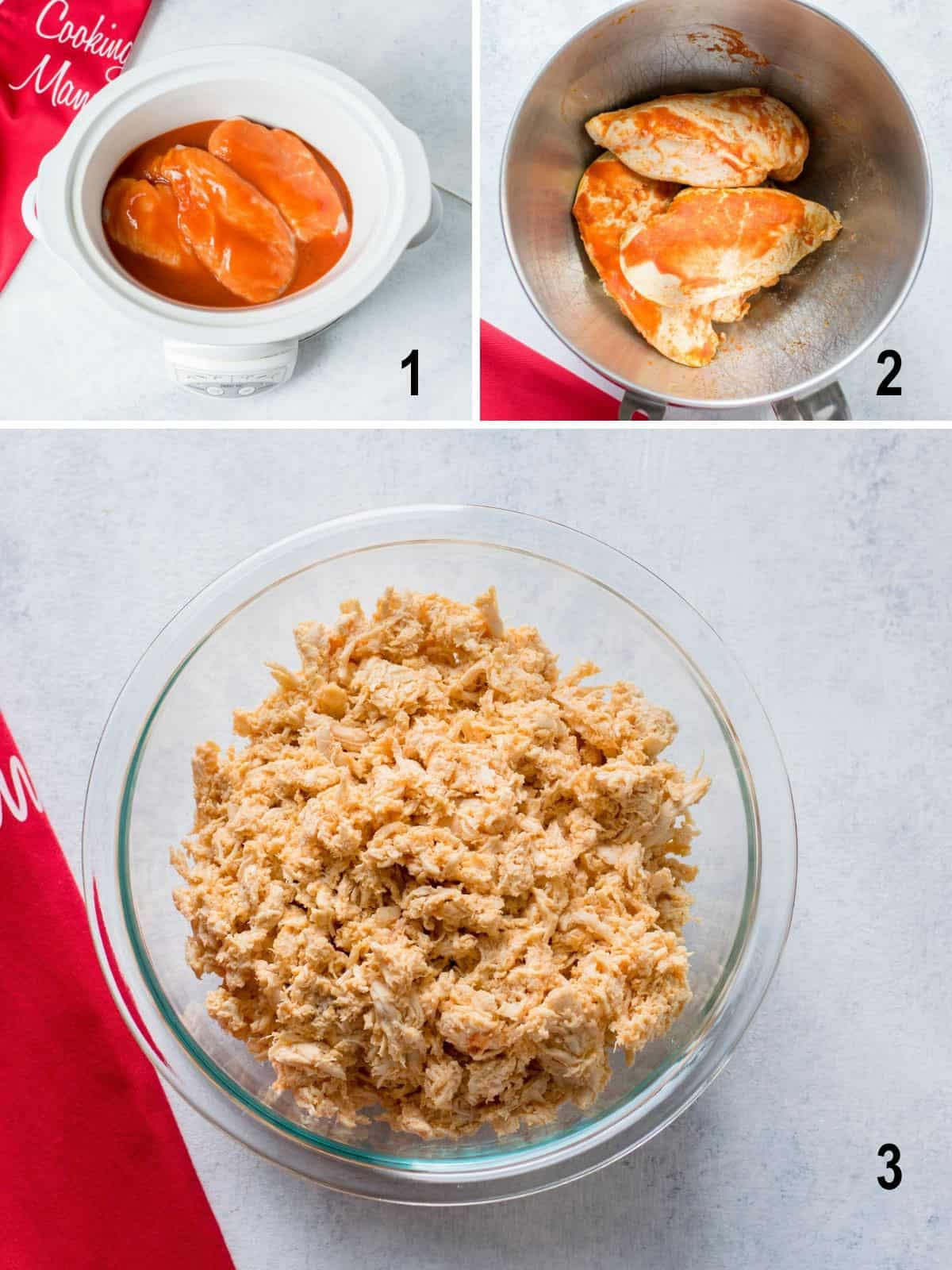 chicken breasts in Crockpot with hot sauce, cooked chicken in bowl, shredded Buffalo chicken