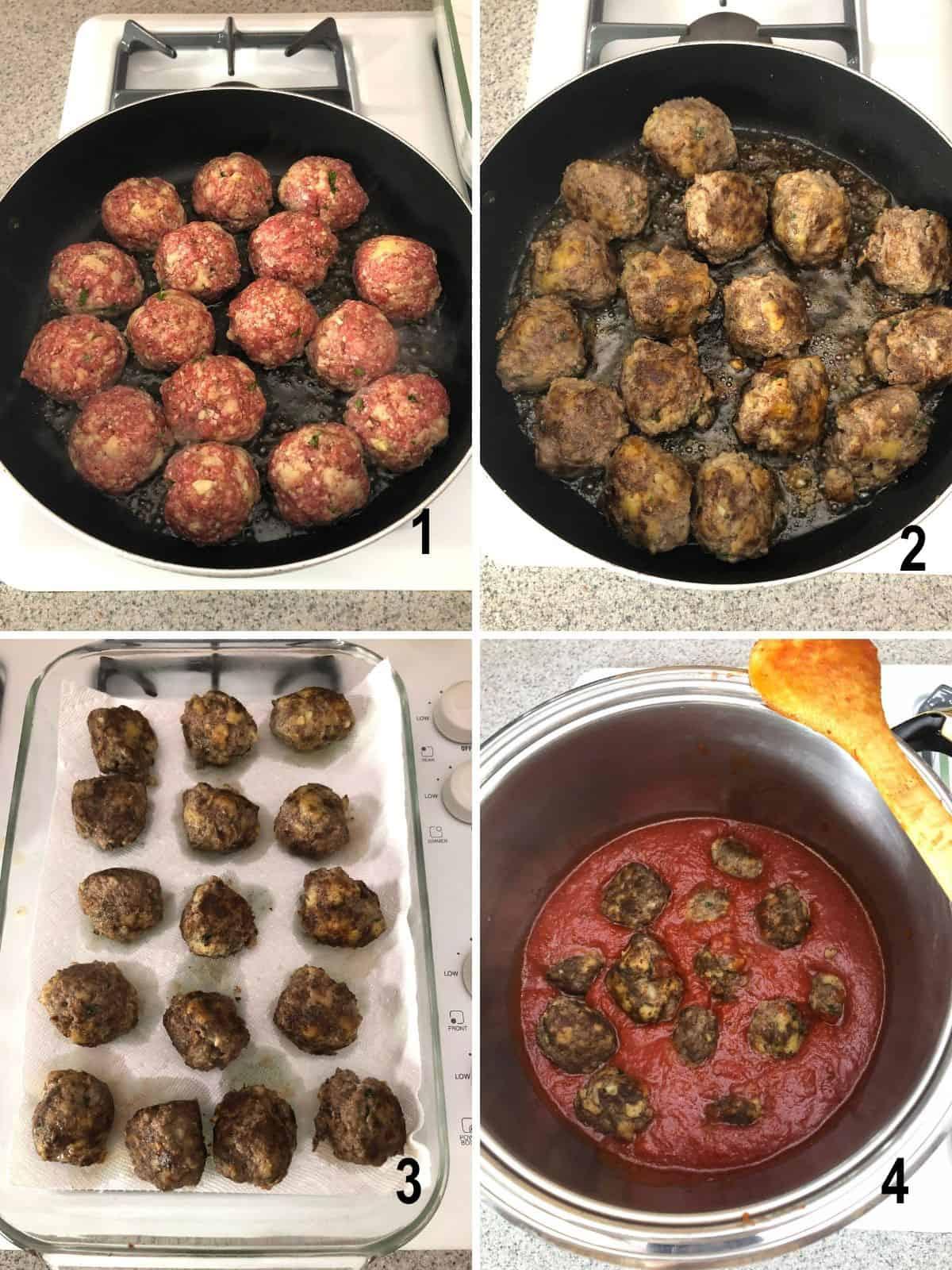 frying meatballs in pan, browned meatballs on paper towels, cooking meatballs in sauce