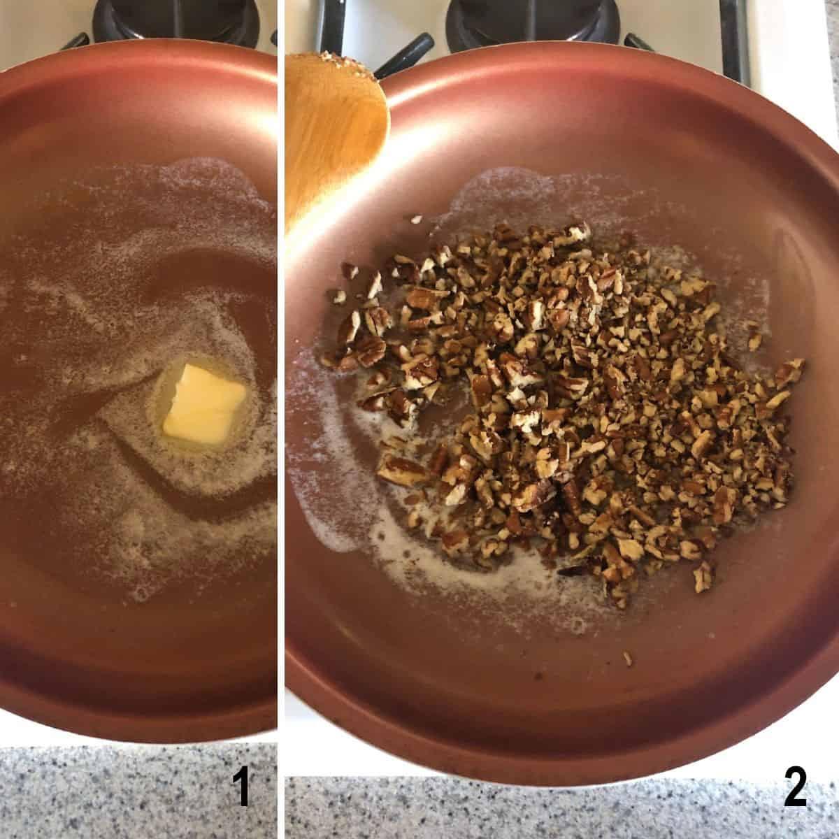 melting butter in pan, pecans in pan