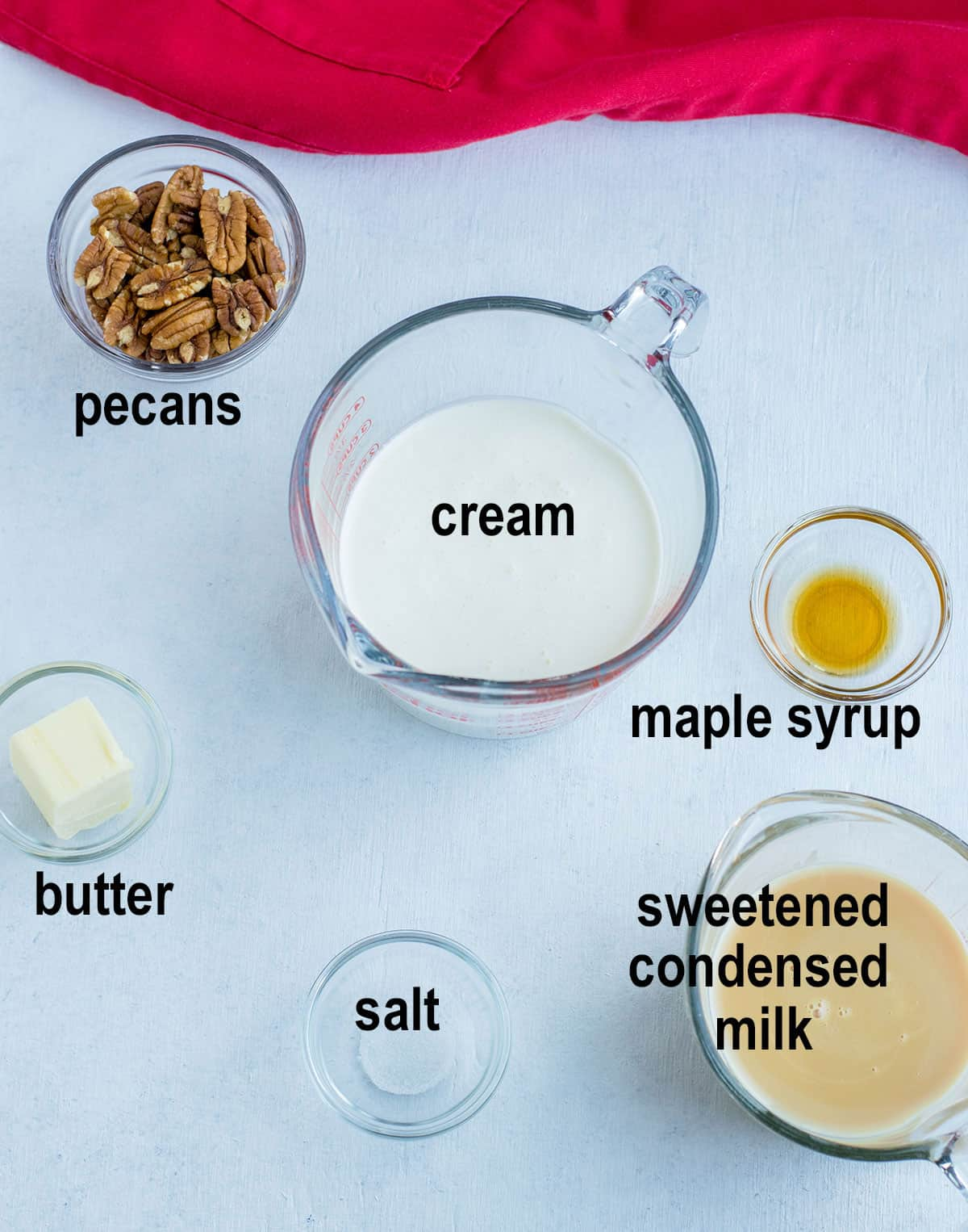 pecans, cream, maple syrup, sweetened condensed milk, salt, butter