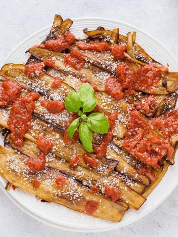 PAN-FRIED EGGPLANT WITH TOMATO SAUCE