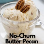 pinnable image for No-Churn Butter Pecan Ice Cream