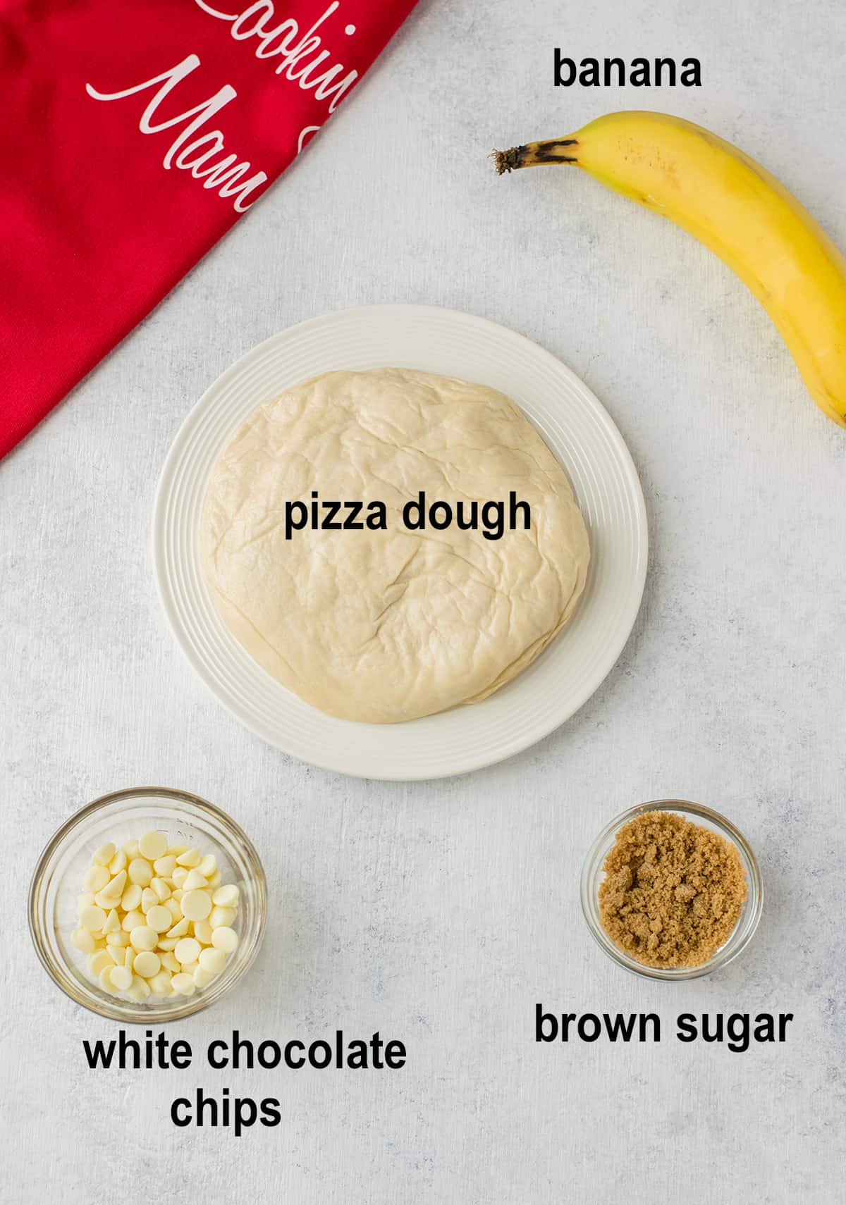 dough, banana, brown sugar, white chocolate chips