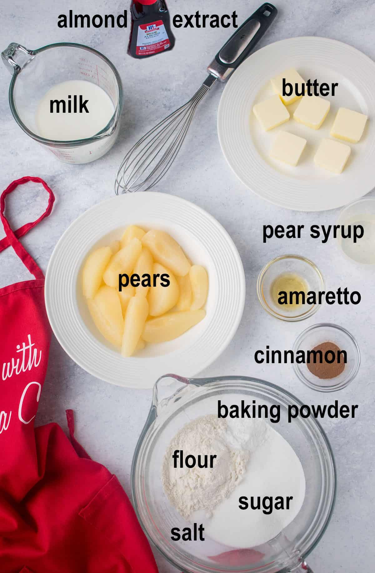pear slices, butter slices, milk and ingredients