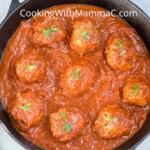 pan of meatballs in sauce