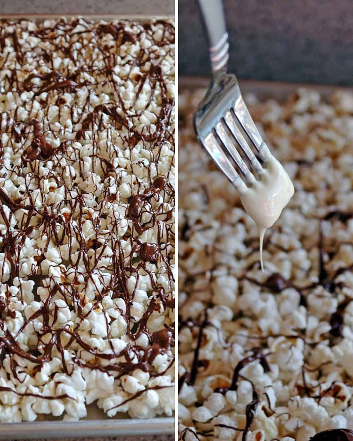 popcorn with dark chocolate drizzles, fork drizzling white chocolate over popcorn