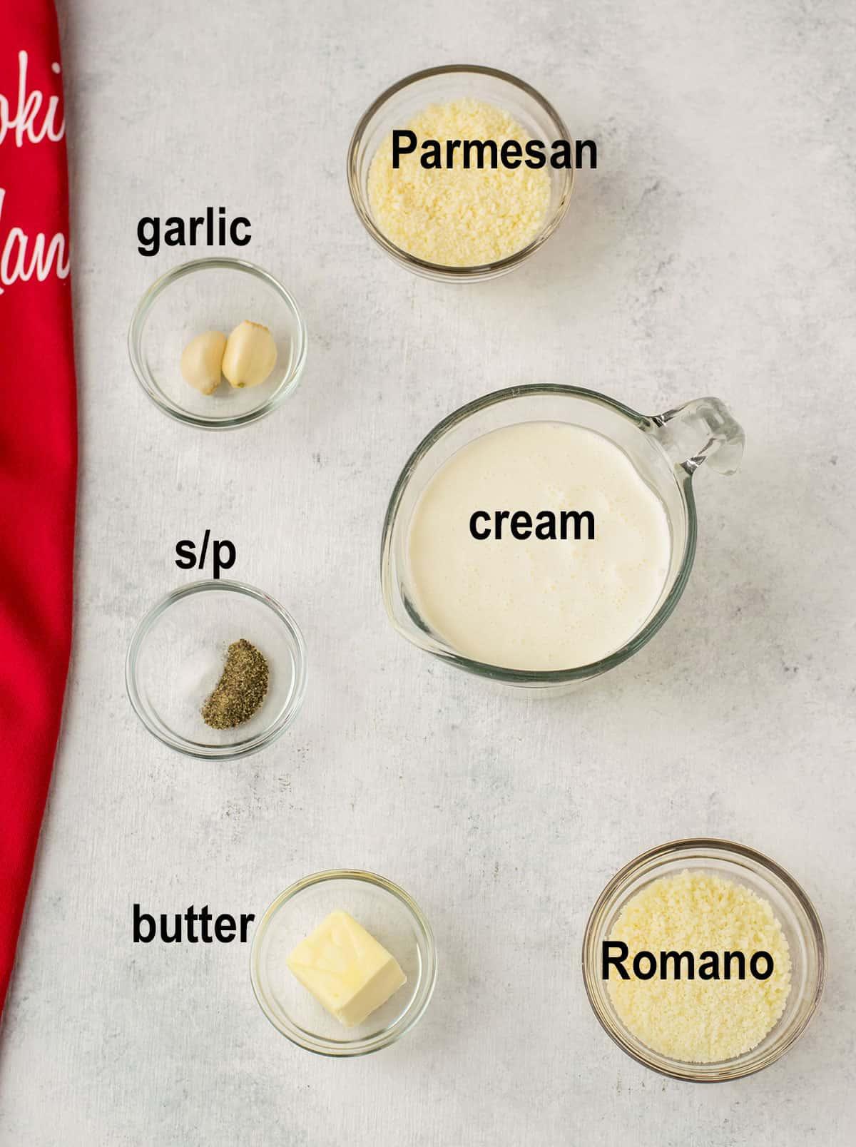 grated cheese, cream, butter, seasonings, garlic