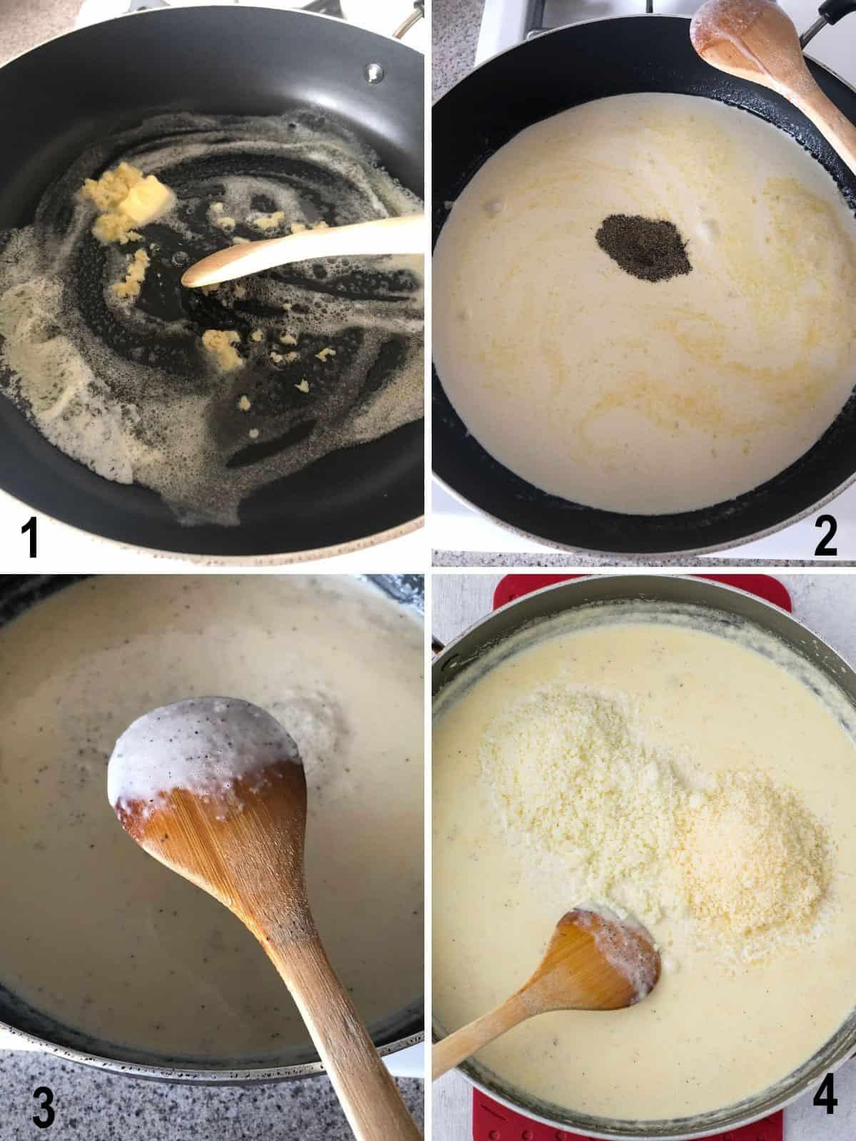 collage photos of making alfredo sauce in pan