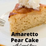 pinnable image for pear cake with canned pears