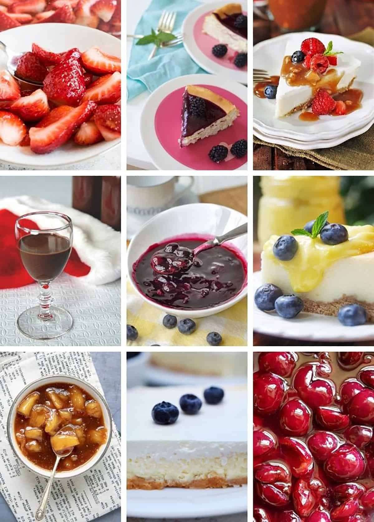 collage of cheesecake toppings, including chocolate, strawberry, cherry, lemon