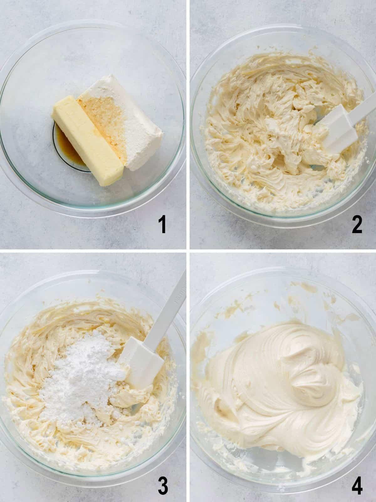 butter, cream cheese and vanilla, beaten mixture, sugar added, cream cheese frosting