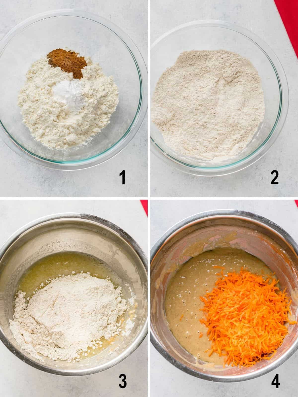 dry ingredients in bowl, mixed ingredients, added to batter, shredded carrots on batter