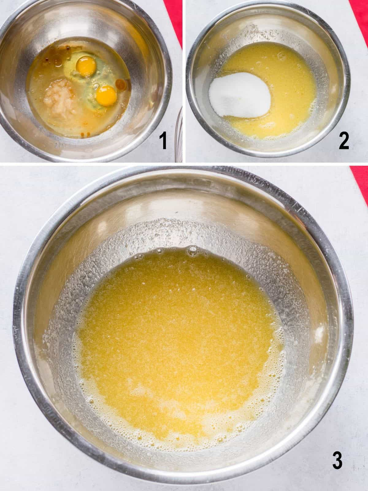 eggs and wet ingredients in bowl, sugar added, yellow egg mixture